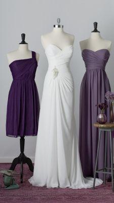 Match your bridesmaid dresses to your wedding gown to get that picture-perfect bridal party look. Chiffon Wedding Gowns, Chiffon Gown, Wedding Dresses, Wedding Attire, Chic Wedding, Wedding Styles, Dream Wedding, Wedding Ideas, Wedding Stuff