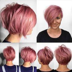 Chic Short Hair, Cute Hairstyles For Short Hair, Pixie Hairstyles, Short Hair Cuts, Curly Hair Styles, Edgy Pixie Haircuts, Short Pixie Bob, Pixie Cuts, Hair Color Pink