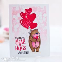 Papertrey Ink December Countdown Day Bear Hugs, You Make My Heart Soar, and Shape Shifters. (Paper, Scissors and Superheroes) Embossing Stamp, Valentine Day Cards, Valentine Ideas, Valentines, Scrapbook Albums, Scrapbooking, Die Cut Cards, Get Well Cards, Stuffed Animal Patterns
