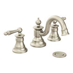 Waterhill Brushed nickel two-handle high arc bathroom faucet -- TS418BN -- Moen