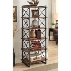 Furniture of America Collins Industrial Medium Weathered Oak 6-tier Display Shelf   Overstock.com Shopping - The Best Deals on Media/Bookshelves