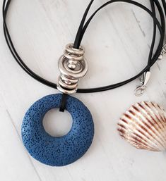 Blue Necklace, Leather Necklace, Leather Jewelry, Boho Jewelry, Beaded Necklace, Silver Bracelets For Women, Handmade Beaded Jewelry, Turquoise Pendant, Lava