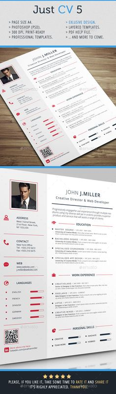 #Just #CV 5 - #Resumes Stationery Download here: https://graphicriver.net/item/just-cv-5/10796199?ref=alena994