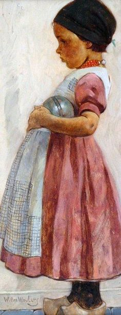 'Little girl from Volendam with ball' (Netherlands) by Wilm Wouters (Volendams Meisje met Bal)~