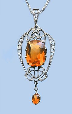 ephemeral-elegance:  Fire Opal and Diamond Pendant, ca. 1900 Archibald Knox for Liberty & Co. via Tadema Gallery