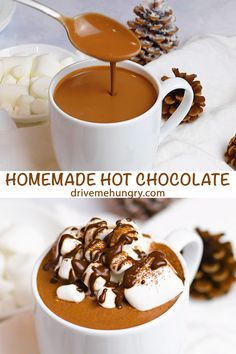 Creamy Homemade Hot Chocolate - - A rich & creamy homemade hot chocolate ready in under 10 minutes! Made with real chocolate - semisweet & bittersweet chocolate, cocoa powder & vanilla. This is the best homemade hot chocolate recipe! Best Hot Chocolate Recipes, Homemade Hot Chocolate, Chocolate Chocolate, Choco Drink Recipe, Hot Chocolate Cocoa Powder, French Vanilla Hot Chocolate Recipe, Hot Chocolate With Marshmallows, Spanish Hot Chocolate Recipe, Frozen Desserts