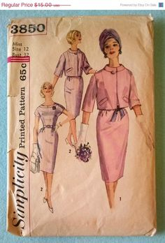 On Sale 1961 Simplicity 3850 Vintage Misses One Piece Kimono Sleeve Dress and Stand Up Collar, Elbow Sleeve Jacket Pattern - Size 12 Cut, Complete $15.00