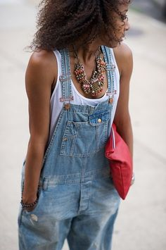 Slouchy tee, overalls & chunky accessories.