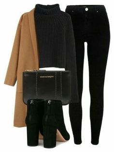 #winter #outfits / coat + knit sweater