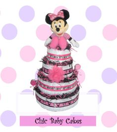 Minnie Mouse Diaper Cake Baby Shower Centerpiece  by ChicBabyCakes