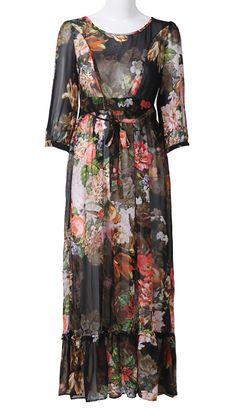 Black Long Sleeve Floral Ribbon Silk Dress
