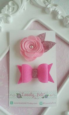 Rosette and Bow Handmade Wool Felt Hair Clips Set- Rosette and Bow in Pink Hues - Flower Girls - Baby Girls - Hair Accessories