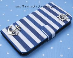 Vintage Silver Rudder and Anchor iPhone 5C case,Samsung Galaxy S4 case,Navy Style blue and white stripes case cover