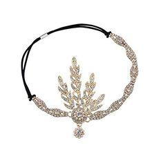 Babeyond® Flapper Great Gatsby Inspiriert Art Deco 1920 Blattmedaillon Perle Kopfschmuck Kopfband runden Goldene