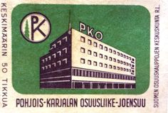 tulitikkuaskin etiketti. teksti: Pohjois-karjalan osuusliike-joensuu. keskimäärin 50 tikkua. suomen osuuskauppojen keskuskunta r.l.