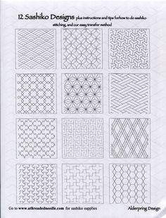 One World Fabrics: Shop | Category: Sashiko Supplies and Patterns | Product: 12 Sashiko Designs