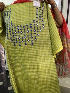 Embroidery Suits Punjabi, Embroidery On Kurtis, Hand Embroidery Dress, Kurti Embroidery Design, Salwar Neck Designs, Dress Neck Designs, Kurta Designs Women, Blouse Designs, Bridal Suits Punjabi