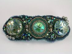 Bead embroidered hair barrette  http://www.etsy.com/listing/65503824/psyched-out-bead-embroidery-hair
