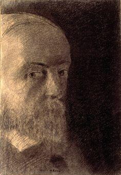 Odilon Redon ~ Tête (self-portrait), 1890