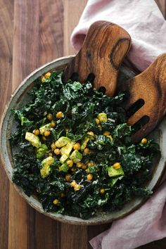 Kale Salad with fresh avocado and crispy chickpeas- a perfect salad for feeding crowd or a perfect picnic salad. Use your favorite dressing, too!