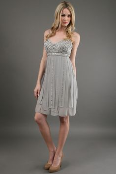 Sue Wong - Embroidered Bodice Short Dress in Platinum