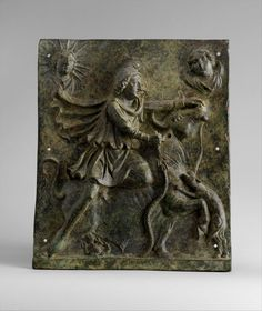 Bronze plaque of Mithras slaying the bull - Mid-Imperial, Antonine or Severan, mid-2nd–early 3rd century A.D. Roman. Bronze, 14 x 11 5/8 x 1 3/4 in. (35.6 x 29.5 x 4.4 cm)
