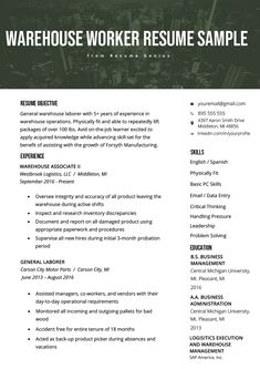 Warehouse Worker Resume Example & Writing Tips | Resume Genius Basic Resume Examples, Simple Resume, Modern Resume, Resume Skills, Resume Tips, Resume Ideas, Resume Help, Resume Design Template, Resume Templates
