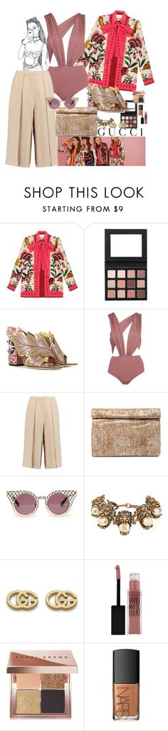 """""""Less serious"""" by claire86-c ❤ liked on Polyvore featuring Gucci, Glamorous, Iris & Ink, Marie Turnor, House of Holland, Maybelline, Bobbi Brown Cosmetics and NARS Cosmetics"""