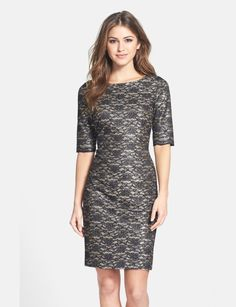 On SALE at 32.00% OFF! petite   metallic lace sheath dress by Eliza J. Light golden shimmer lends appealing romance to a bonded-lace sheath dress finished with pretty scalloped edges at th...