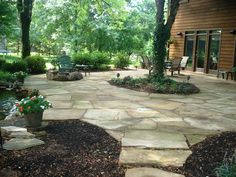 62 Ideas Flagstone Patio With Pergola Pools Diy Patio, Backyard Patio, Patio Ideas, Patio Table, Backyard Ideas, Garden Ideas, Flagstone Patio, Brick Patios, Outdoor Landscaping