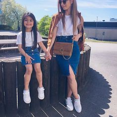 Pin by Leyla Tural on Anne kiz Mom Daughter Matching Outfits, Mommy And Me Outfits, Little Girl Outfits, Kids Outfits Girls, Cute Girl Outfits, Family Outfits, Toddler Outfits, Girls Fashion Clothes, Baby Girl Fashion