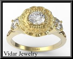 Flower Engagement RingSapphire Engagement by Vidarjewelry on Etsy, $1880.00