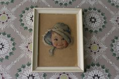 Adorable Puffy Picture of Baby in a Blue Bonnet by MadGirlRetro