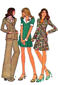 Uncut McCall's 3488 Vintage 1970's Skirt, Pants and Jacket, Women's Suit Sewing Pattern; Mini skirt or above knee skirt, wide leg pants, and narrow shoulder jacket with long or short sleeves. Misses' Size: 10