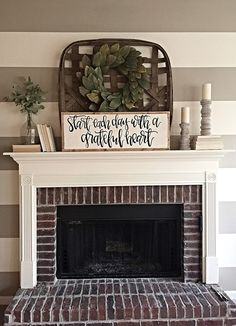 Live gratefully grateful heart home decor hand painted sign Farmhouse Fireplace Mantels, Brick Fireplace, Fireplace Design, Farmhouse Decor, Above Fireplace Decor, Fireplaces, Modern Farmhouse, Tv Above Mantle, Farmhouse Style