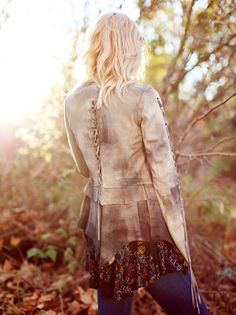 Laced Ophelia Suede Jacket | Luxe suede jacket featuring contrast washed accents throughout. Uncut and uneven layered detailing with statement lace-up ties along the sleeves and back. Exposed zipper closure. Lined.