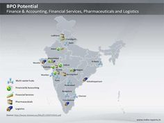 PPT Slide on BPO Hubs in India Map