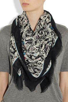 Karl Lagerfeld|+ tokidoki printed cotton-blend scarf.