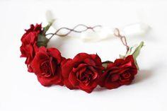 red rose crown // romantic wedding headpiece bridal by kisforkani, $60.00