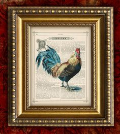 ROOSTER Vintage Print on Dictionary Book Page Art Print Kitchen Decor Home Decor Wall Decor 8x10. $10.00, via Etsy.