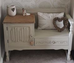 Shabby chic oak telephone table seat painted in Annie Sloan chalk paint
