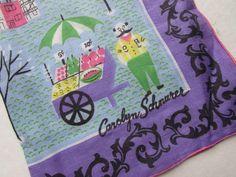 Vintage Handkerchief Hankie Paris Farm Market Theme Carolyn Schnurer