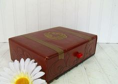 Vintage Brown Tooled Leather Like Box with Drawer  by DivineOrders, $27.00