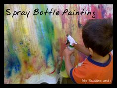 Spray Paint art activity for kids  What if they painted with tempra and then sprayed to watch it run.