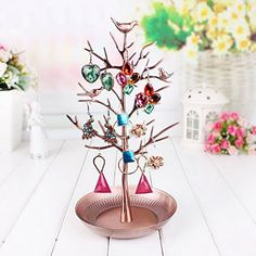 Dazone Jewelry Tree Rack Earring Necklace Holder Jewelry Organizer