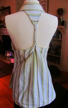 Dress shirt turned halter. - con tutorial dettagliato che spiega anche come sfiancare e aggiungere le pinces, qui: http://wobisobi.blogspot.it/2011/06/mens-shirt-to-halter-diy.html