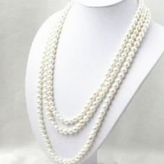 Free shipping long chain necklace natural white freshwater cultured 6-7mm pearl round beads fashion jewelry 80inch MY4524 #Affiliate