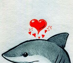 Heart Shark by ~RobtheDoodler