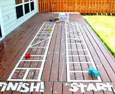 "giant outdoor game, made w/masking tape + chalk written instructions; ie., roll the die (home made), and move your ""guy"" to the spot and do what it says - e.g., water fight, sing a song, do the chicken dance, make a silly face, jump on the trampoline, etc."