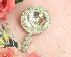 Vintage silver plated tea strainer with embossed Dutch images, made in Holland by CardCurios on Etsy Birthstone Stacking Rings, Vintage Cutlery, Tea Strainer, Half Circle, Ginger Jars, Vintage Silver, Flatware, Holland, Silver Plate